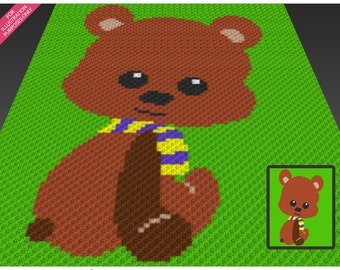 Little Bear crochet blanket pattern; c2c, cross stitch; knitting; graph; pdf download; no written counts or row-by-row instructions