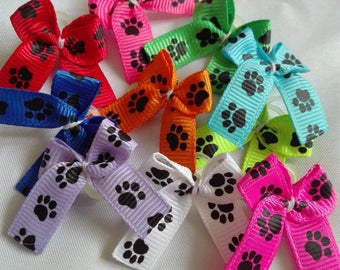 Dog Bows 50 puppy paws dog grooming bows Yorkie bows Poodle Shih tzu Maltese Lhasa Apso cheapest 3/8 dog bow set grooming bows tea cup