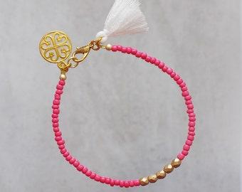 Girlfriend gift Coral gold bracelet Peach bead bracelet Tassel bracelet Friendship bracelet Everyday bracelet Charm bracelet Summer bracelet