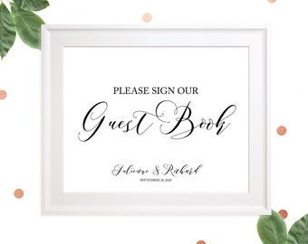 Sign our Guest Book Sign-Printable Wedding Guest Book Sign-Rustic Wedding Decor-Wedding Reception DIY Sign-Elegant Calligraphy Wedding Sign