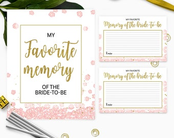 Gold and pink my favorite memory of the bride cards and sign-Printable Instant Download PDF File Golden Glitter Bridal Shower, Bachelorette