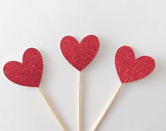 12 Glittery Sweet Hearts Cupcake Toppers-valentines Cake Topper-Handmade Cake Topper-Cupcke