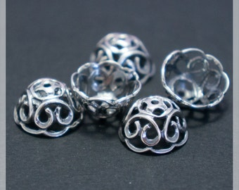 Sterling Silver Bead Caps 4 pcs