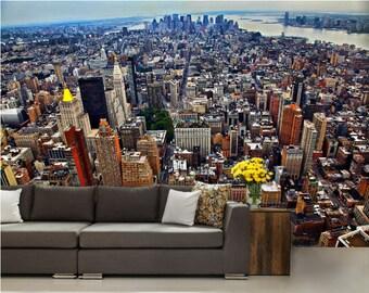 city wallpaper, New York wall mural, brooklyn wallpaper, Manhattan wall mural, city wall decal, modern wall paper, bridge wall mural