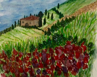 Watercolor Landscape Painting, Tuscany Mountain painting, original watercolor Floral art, Vineyard villa, Blue and Green travel art