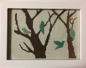 Finished cross stitch, completed cross stitch, framed or unframed, Bird and Branch decor, Shabby Chic, hand stitched art, desk art, gift