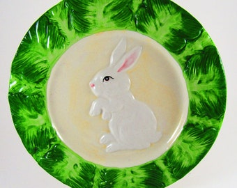 Vintage Ceramic Rabbit Easter Bunny Decorative Plate