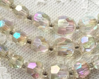 Triple strand 1950s crystal necklace, vintage crystal necklace, fifties
