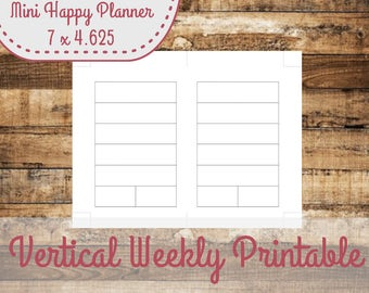 Week On ONE Page Layout Mini Happy Planner Size Insert, Mini Happy Planner Inserts - INSTANT DOWNLOAD