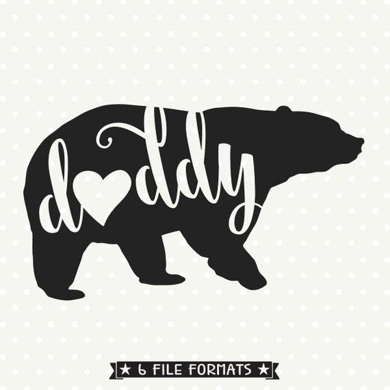 Daddy Bear Svg File Bear Silhouette File Bear Family Svg