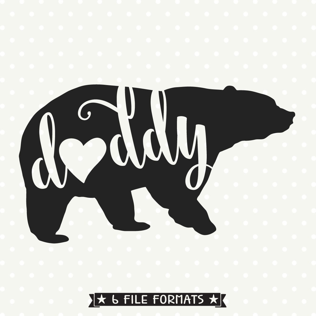 Daddy Bear Svg File Bear Silhouette File Bear Family Svg