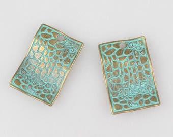 2 Pieces - 32MM Verdigris Patina Green Rectangle Charms E23
