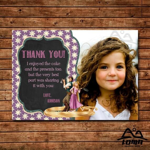 Tangled Birthday Thank You, Rapunzel Birthday, Disney Princess Thank You, Princess Birthday Thank You, Rapunzel, Tangled