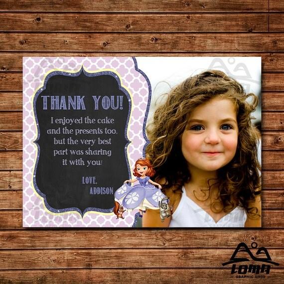 Sofia the First Birthday Thank You, Sofia Birthday, Disney Princess Thank You, Princess Birthday Thank You, Sofia the First, Sophia
