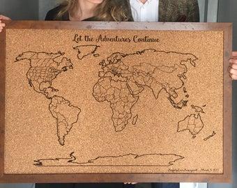 Framed World Map on Cork