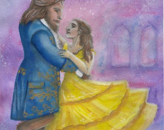 LAST CHANCE SALE: Beauty & The Beast print of original inspired watercolour painting