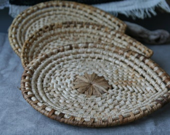 Set of 3 Woven African  Sweetgrass Plates/ Scoops/Small Trays/Wall Hangers