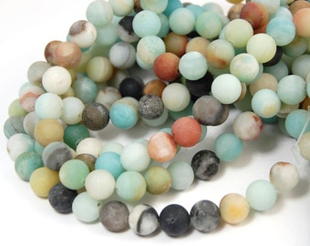 "TWO 15"" strands Amazonite Beads Matte 8mm, TWO 15"" strands"