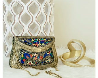 Beautiful Kuchi clutch metal bag- ethnic clutch - triable bag - boho clutch - evening bag - formal clutch purse