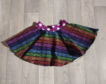 GLITTER RAINBOW Twirly SKIRT stripe jersey made in Warwick Uk (DunkleyHandmade)