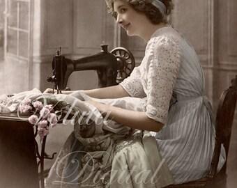 Lovely woman sewing on sewing machine. Digital download  -  Edwardian Vintage Postcard.