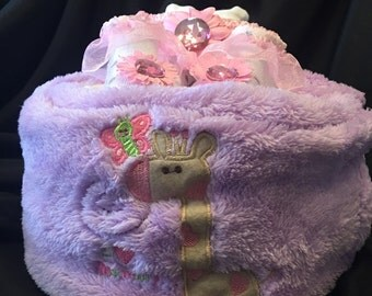 Giraffe Diaper Cake Gift Purple
