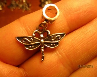 Set of 5 Dragonfly Silver Metel Charms