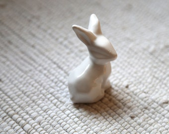 Small white porcelain bunny/hare/rabbit. Home ornaments. Porcelain decor for home. The Easter bunny. Easter gift. Decorations for home.