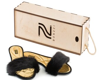 Slippers women's natural leather and mink fur