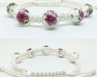 Porcelain bead macrame bracelet