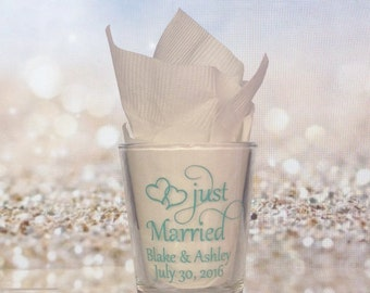 Personalized Wedding Shot Glasses - 168 Pieces - Custom Wedding Favors - New Wedding Favor Ideas Just Married
