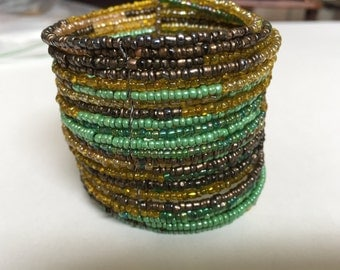 Vintage wrap beaded cuff bracelet, greens, browns