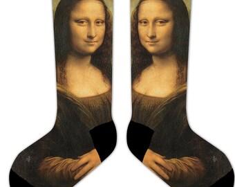 s3 - Da VINCI - MONA LISA - 11' Crew or Ankle Socks - Famous Painting Art Socks