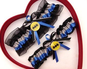 New Handmade Batman Wedding Garters Silver Blue Black Yellow Garter Prom Homecoming Dance Superhero Wedding Garter Set