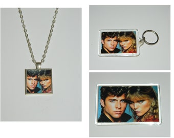 Grease 2 Michael and Stephanie Glass Pendant Necklace, Keychain, and or Magnet