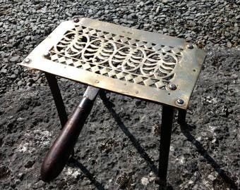 Vintage Brass Trivet with Wooden Handle and Wrought Iron Legs