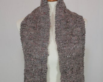Alpaca/Wool Scarf: Hand Knit Wool & Alpaca Blend Scarf With Soft Thick Feel