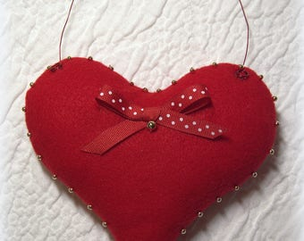 Red Felt Vintage Heart, Mothers Day Gift, Love Gift, Heart Decor