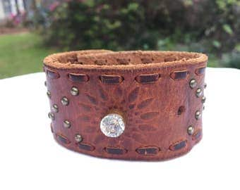 Leather Cuff with Glass Button