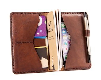 Leather Notebook Cover, Gift for Him. iPhone 6, 6s. 7 Wallet. Travelers Notebook. Moleskine Pocket Cahiers , Veg Tan Italian Leather.A6 size