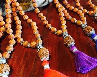 Rudraksha Meditation Mala - Japa Mala Beads that have been blessed and activated. Various coloured tassles, finest quality Rudraksha seeds.