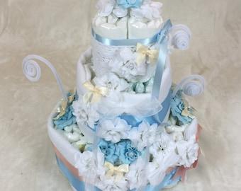 Sky Blue Diaper Cake