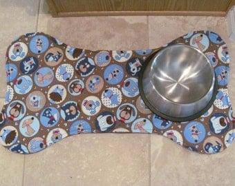 Large Dog Bone Placemat, Dog Food Mat, Dog Bone Mat, Dog Placemat, Pet Feeding Mat