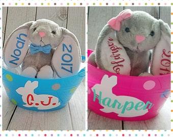 Kids Easter Gift, Easter Bucket Set, Custom Easter Gift, Easter Basket, Easter Bunny Stuffed Animal, Easter Gift Set, Easter Bucket Set