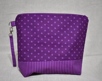 Purple Dot Project Bag, Medium Bag for Knitting or Crochet