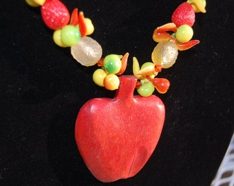 Wooden apple pendant necklace | Multi-colored 60's necklace | Teachers pet | Novelty jewelry | Fruit | Red apple pendant necklace| Unique |