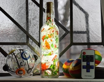 LED lamp - Stained glass green and Orange - 375 ml bottle (loan a deliver)