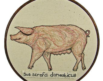 Hoop Art, Pig, Pig embroidery, Pig Art, Machine embroidery, textile art