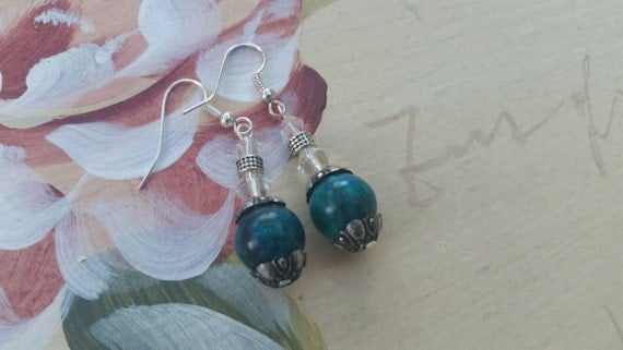 Blue howlite and silver earrings