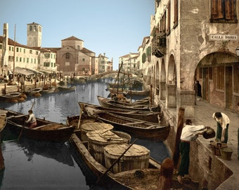 Venice Photo, Italian Chioggia Fish Market, Italy, Vinezia, Canals, Print, Italia, History, Gondolas. Scenery, Photography, Wall Art, Decor